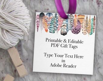 Editable Tag, Printable Boho Tag, Feather Tag Template, Feather Gift Tag // Wedding Favor Tag, Birthday Tag // DIY Digital PDF Square 3x3