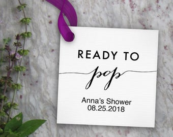 Ready To Pop Tags Printable Editable Favor Tag Baby Shower Popcorn Or Soda DIY Digital PDF Square 2x2 Template