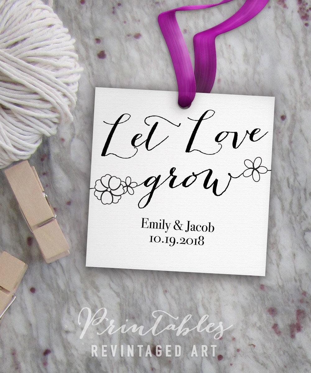 Let Love Grow Tags // Printable & Editable Wedding Tag Template ...