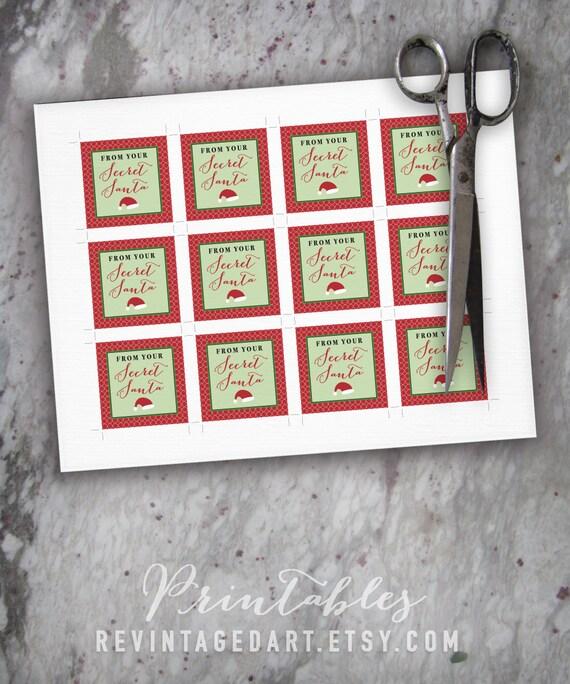 Secret Santa Tags Printable Christmas Gift Tags For Work School Friends Class Gifts Diy Digital Pdf 2 Square Custom Template 2x2