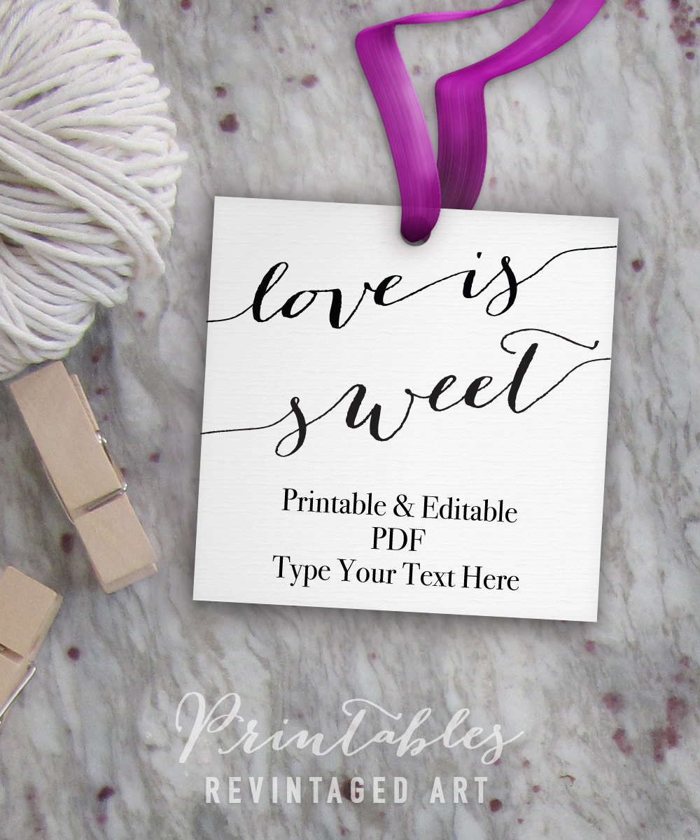 Love is Sweet Tags, Printable Wedding Favor Tags, Bridal Shower ...