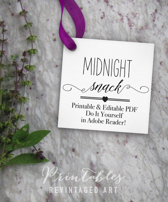 Midnight Snack Tags Printable Editable Favor Tag Template