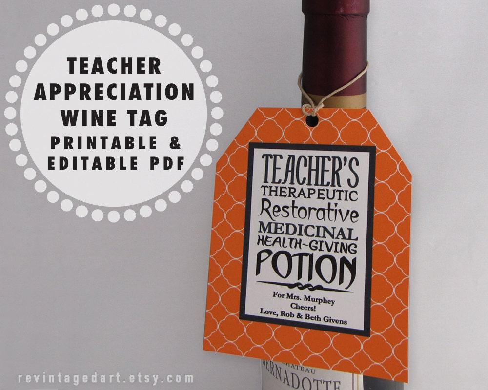 Printable Teacher Tags Teacher Wine Gift Tags Teacher Etsy