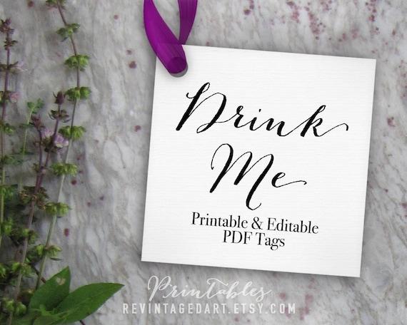 Drink Me Tags Printable Editable Tag Bottle