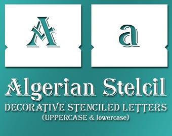 Algerian Stencil Font – lowercase & UPPERCASE Vintage Lettering Alphabet Typography #073