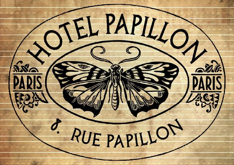 INSTANT DOWNLOAD  French Vintage Hotel Label  Print Transfer image 0