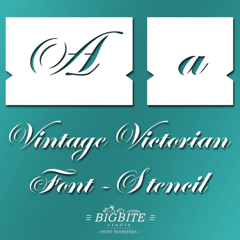 Letters STENCILS: Decorative Victorian Font (Furniture Print Transfer) #060