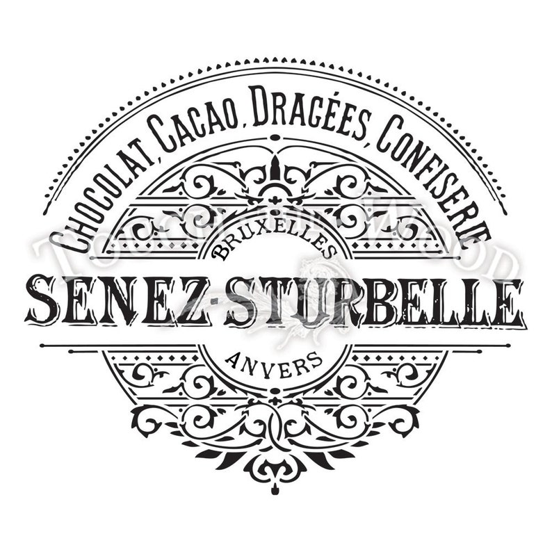 Vintage French Label for furniture, wood, paper Water Slide Decal Print Transfer Senez-Strubelle Chocolate #053