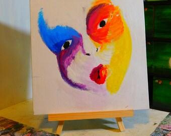 Butterfly Rainbow Mask Self Portrait, Acrylic Painting, Home Decor Wall Art