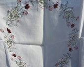 Tablecloth sweet embroidered flowers and lace cutaway madeira design cottage chic small square size cotton