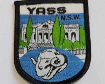 Yass NSW souvenir cloth patch retro Yass wool badge Yass cloth badge Yass NSW cloth badge Ram cloth patch vintage Yass cloth patch