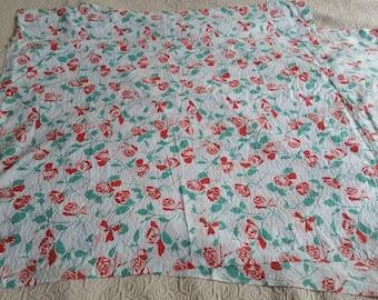 Red rose fabric, seersucker rose fabric, vintage red rose fabric, vintage seersucker fabric, retro red rose seersucker fabric, rose fabric