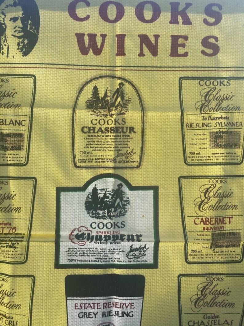 Teatowel cooks wines souvenir vintage linen