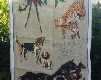 Teatowel souvenir Animal Welfare League of South Australia linen vintage