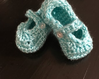 Aqua Crocheted Baby Shoes, Baby Mary Janes, Baby Girl Shoes, Crochet Shoes for Toddler
