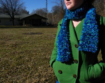 Neon Green and Blue, fuzzy scarf