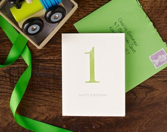 First birthday letterpress card - hand made greeting cards