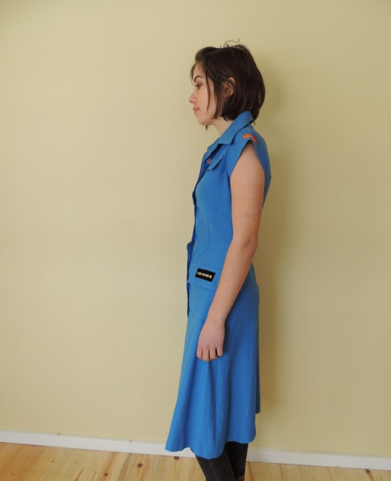 vintage 1970's U.S. military shirt dress fitted s… - image 2