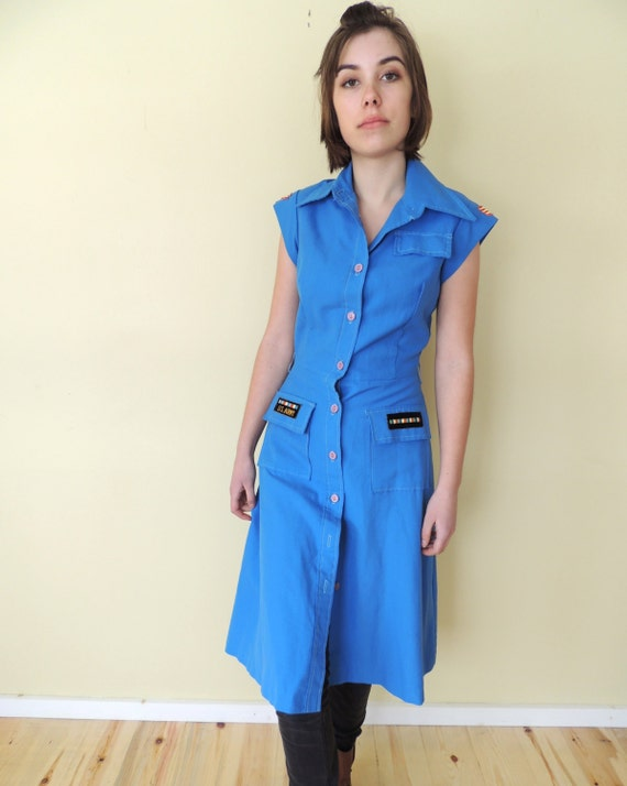 vintage 1970's U.S. military shirt dress fitted s… - image 5