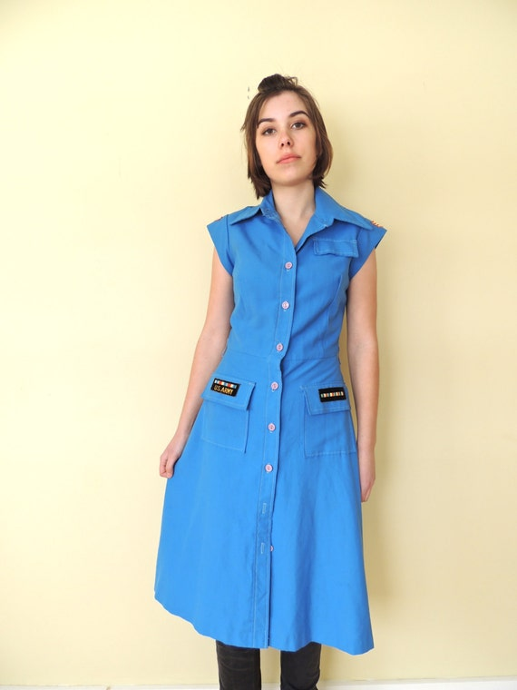vintage 1970's U.S. military shirt dress fitted sh