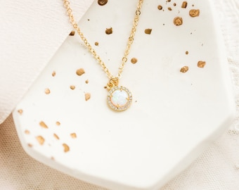 Gold opal necklace - Opal cubic pendant - round opal pendant - October birthstone necklace