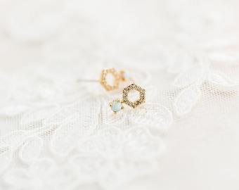 Opal stud earrings - Gold opal stud earrings - Dainty opal earrings - Gold stud earrings - Delicate gold earrings - Small gold studs