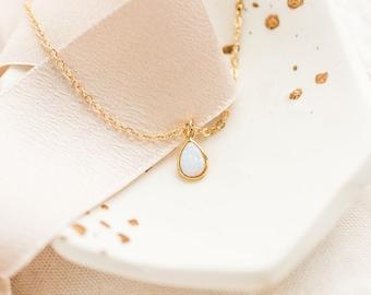 Minimal opal necklace, gold opal necklace, October birthstone, White opal necklace, Dainty opal necklace