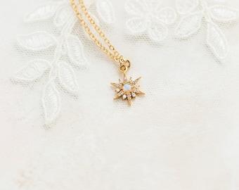 Starburst opal necklace, June birthstone necklace, gold celestial necklace, gold star necklace, minimalist opal necklace