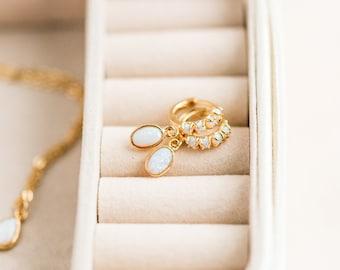 Minimalistic gold huggies, opal drop earrings, Opal huggie hoops, Opal huggie earrings, Minimalist earrings, Gold huggie hoops