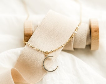 Gold crescent necklace, crescent moon necklace, moon necklace, minimalist moon necklace, gold moon necklace, cubic moon necklace