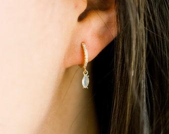 Ice blue huggie hoop earrings, Dainty drop huggies, Cubic zirconia huggies, Minimal gold huggies, Gold CZ earrings, Gold Ice blue earrings