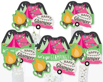 108 Camping Birthday Stickers Labels Party Kisses Candy Party Favors Scouts Camp