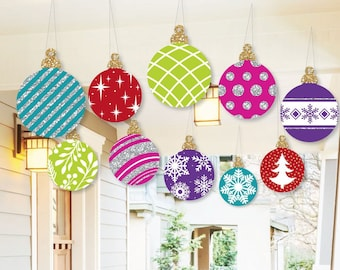 hanging colorful ornaments outdoor christmas porch tree yard decorations holiday tree ornaments hanging christmas balls 10 pc set