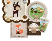Woodland Tableware Kit - Woodland Creatures Baby Shower or Birthday Party Plates, Napkins and Cups - Woodland Animals 16 piece place setting