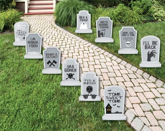 funny tombstones graveyard tombstone shaped lawn decorations outdoor yard decorations halloween lawn ornaments yard art 10 pc