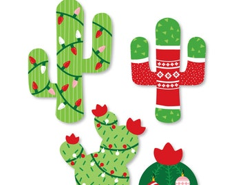 merry cactus shaped christmas cactus party small paper cut outs cactus christmas party decorations holiday fiesta 24 pc