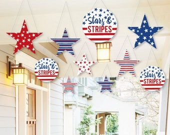 hanging stars stripes outdoor patriotic party porch and tree yard decorations stars and stripes hanging outdoor decor 10 pc set