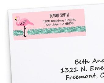 Flamingo Return Address Labels - Baby Shower, Birthday Party, Bridal Shower Address Labels - Cute Return Address Stickers - 30 Labels