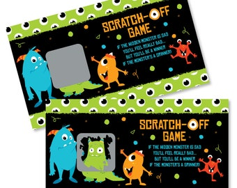 42f0554c6 Monster Bash - Scratch Off Game - Little Monster Baby Shower Birthday Party Game  Cards - Silly Monsters Scratch Off Game - 22 Count