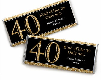 40th Birthday Candy Bar Wrappers