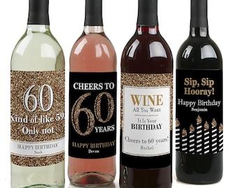 birthday wine labels etsy