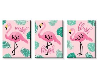 Charmant Pink Flamingo   Kids Bathroom Rules Wall Art Décor   7.5u201d X 10u201d Kids Wall  Art   Bathroom Decor   Wash, Brush, Flush   Set Of 3 Prints