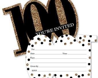 100th birthday invitations etsy adult 100th birthday gold shaped fill in invitations birthday party shaped invitation 12 shaped invites wenvelopes filmwisefo