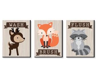 Woodland Creatures   Kids Bathroom Rules Wall Art Décor   7.5u201d X 10u201d Kids  Wall Art   Bathroom Decor   Wash, Brush, Flush   Set Of 3 Prints