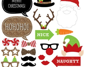 451c9e8671eb2 Christmas Photo Booth Props - Holiday Party Kit with Mustache