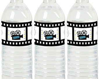 Movie – Hollywood Party - Water Bottle Sticker Labels - Waterproof Self Stick Labels - Red Carpet Party Favors - 20 Ct.