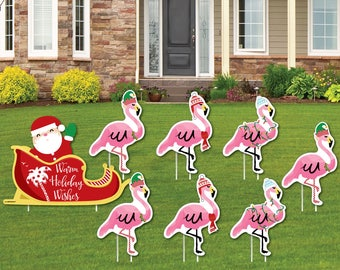 flamingo shaped lawn decorations outdoor christmas decorations tropical christmas lawn ornaments flamingle bells yard art 8 pc