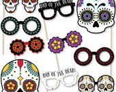 Day Of The Dead - Photo Booth Accessories - Fun Selfie Halloween Sugar Skull Party Card Stock Paper Props Glasses - 10 Halloween Photo Props