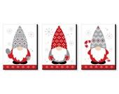 Christmas Gnomes - Holiday Wall Art Room Decor - 7.5 x 10 inches - Set of 3 Prints