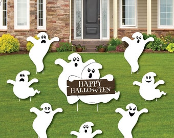 spooky ghost ghost shaped lawn decorations outdoor halloween party yard decorations halloween ghost shaped lawn ornaments 8 pc